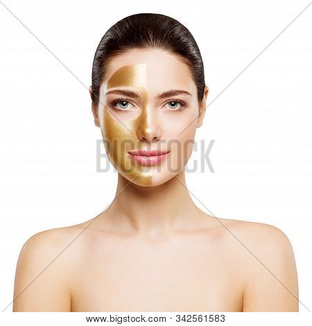 Woman Beauty Gold Mask, Happy Girl Golden Facial Skin Cosmetic, Skincare And Treatment