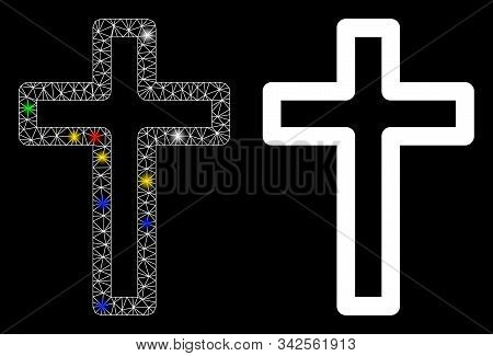 Glossy Mesh Tomb Cross Icon With Lightspot Effect. Abstract Illuminated Model Of Tomb Cross. Shiny W