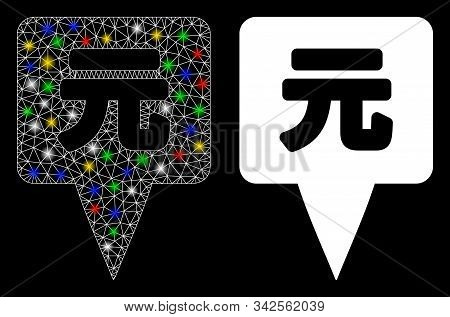 Glowing Mesh Yuan Map Pointer Icon With Glitter Effect. Abstract Illuminated Model Of Yuan Map Point