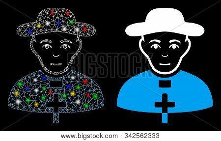 Glossy Mesh Catholic Shepherd Icon With Lightspot Effect. Abstract Illuminated Model Of Catholic She