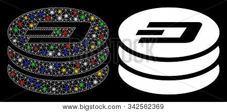 Glossy Mesh Dash Coin Column Icon With Lightspot Effect. Abstract Illuminated Model Of Dash Coin Col