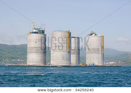 Offshore base oil drilling platform in a floating state. Sea of Japan. Russian coast.