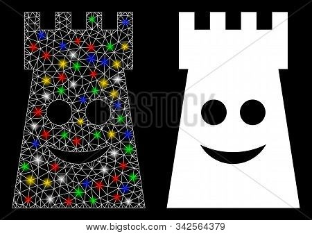 Glossy Mesh Glad Fort Tower Icon With Glow Effect. Abstract Illuminated Model Of Glad Fort Tower. Sh