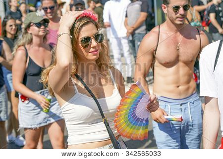 The Annual Parade Lgbt. Gay And Lesbians Walking In The Gay Pride Parade. Parade Of Tolerance. Rainb