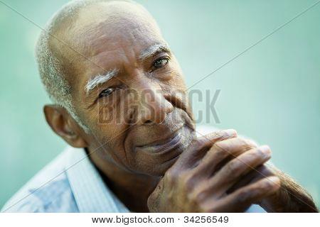 Closeup Of Happy Old Black Man Smiling At Camera