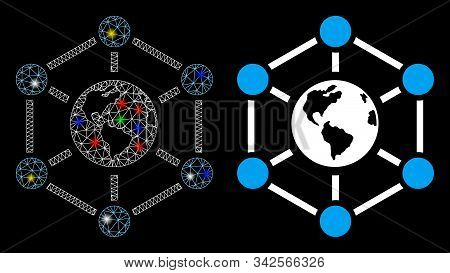Bright Mesh Worldwide Internet Icon With Glow Effect. Abstract Illuminated Model Of Worldwide Intern