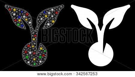 Glowing Mesh Seed Sprout Icon With Glow Effect. Abstract Illuminated Model Of Seed Sprout. Shiny Wir