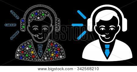 Glowing Mesh Call Center Operator Icon With Glare Effect. Abstract Illuminated Model Of Call Center