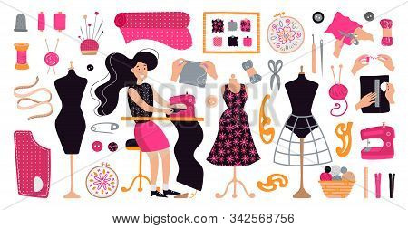 Vector Illustration With Brunette Girl Tailor In Workplace. Dressmaker Working At Sewing Machine In