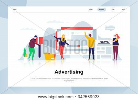 Advertising And Promo Modern Flat Design Concept. Advertisement And People Concept. Landing Page Tem
