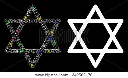 Glowing Mesh Star Of David Icon With Sparkle Effect. Abstract Illuminated Model Of Star Of David. Sh