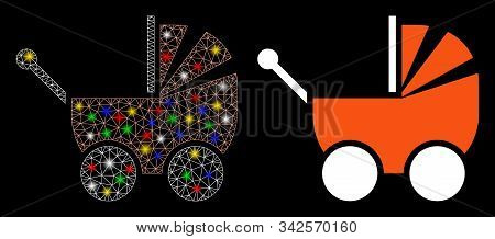 Bright Mesh Pram Icon With Glitter Effect. Abstract Illuminated Model Of Pram. Shiny Wire Carcass Po