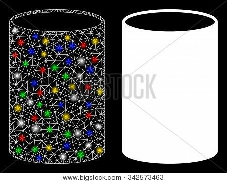 Flare Mesh Cylinder Icon With Glare Effect. Abstract Illuminated Model Of Cylinder. Shiny Wire Frame