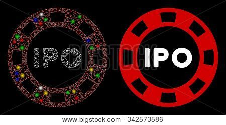 Glossy Mesh Ipo Token Icon With Glow Effect. Abstract Illuminated Model Of Ipo Token. Shiny Wire Car