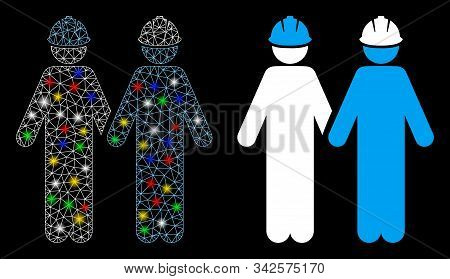 Glowing Mesh Workers Icon With Glow Effect. Abstract Illuminated Model Of Workers. Shiny Wire Frame