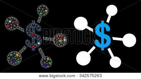Glowing Mesh Money Emission Icon With Sparkle Effect. Abstract Illuminated Model Of Money Emission.