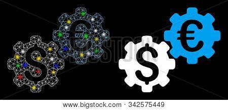 Flare Mesh Financial Mechanics Icon With Glitter Effect. Abstract Illuminated Model Of Financial Mec
