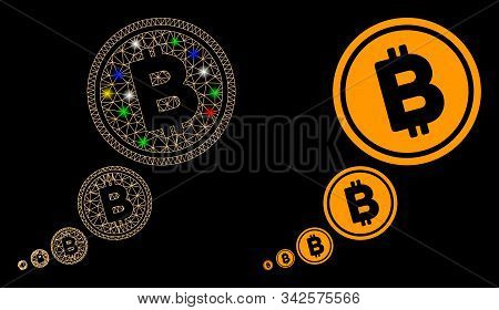 Glowing Mesh Bitcoin Inflation Icon With Glow Effect. Abstract Illuminated Model Of Bitcoin Inflatio