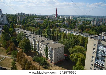 Aerial View Of Belgorod City. Belgorod Cityscape . Russia.  Residential Multi-storey Apartment Block