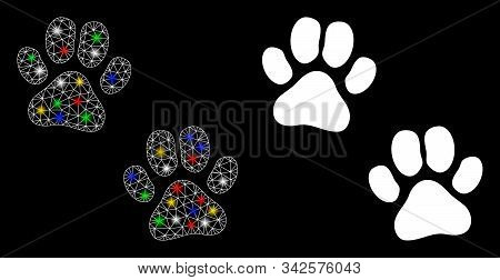 Flare Mesh Paw Footprints Icon With Lightspot Effect. Abstract Illuminated Model Of Paw Footprints.