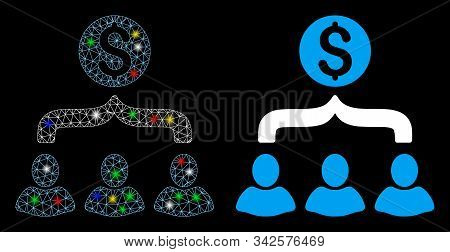 Glossy Mesh Sales Funnel Icon With Glitter Effect. Abstract Illuminated Model Of Sales Funnel. Shiny