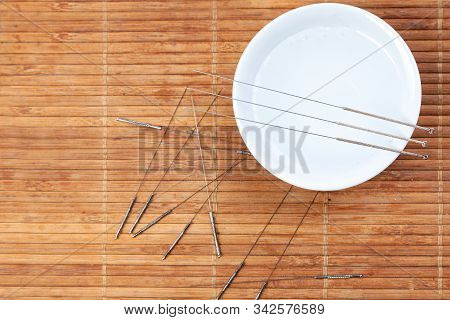 Acupuncture Needles. Silver Needles For Traditional Chinese Medicine Acupuncture. Close-up. There Is