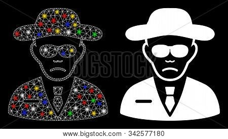 Glossy Mesh Security Agent Icon With Lightspot Effect. Abstract Illuminated Model Of Security Agent.
