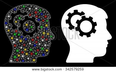 Glowing Mesh Intellect Gears Icon With Glitter Effect. Abstract Illuminated Model Of Intellect Gears