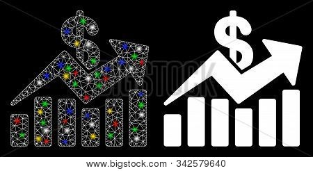Flare Mesh Sales Bar Chart Trend Icon With Glitter Effect. Abstract Illuminated Model Of Sales Bar C