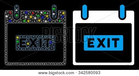 Glossy Mesh Exit Caption Calendar Day Icon With Glow Effect. Abstract Illuminated Model Of Exit Capt