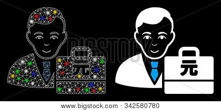 Bright Mesh Yuan Renminbi Accounter Icon With Sparkle Effect. Abstract Illuminated Model Of Yuan Ren