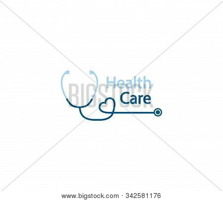 Stethoscope Logo. Health Care Logo In The Form Of A Stethoscope With Shape Heart. Phonendoscope Logo