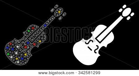 Bright Mesh Violin Icon With Sparkle Effect. Abstract Illuminated Model Of Violin. Shiny Wire Carcas