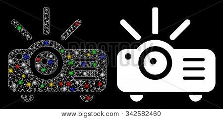 Bright Mesh Projector Icon With Glitter Effect. Abstract Illuminated Model Of Projector. Shiny Wire
