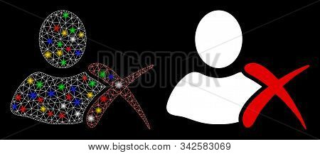Glossy Mesh Erase Icon With Sparkle Effect. Abstract Illuminated Model Of Erase. Shiny Wire Frame Tr