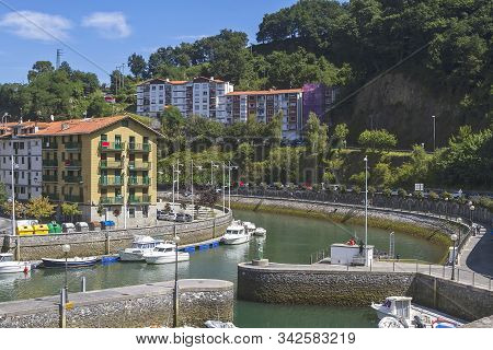 Ondarroa Fishing Town In The Edge Of The Coast Of Vizcaya, Spain