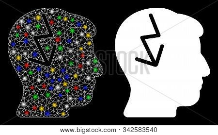 Glossy Mesh Brain Electric Strike Icon With Glare Effect. Abstract Illuminated Model Of Brain Electr