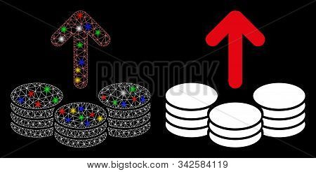 Glossy Mesh Payout Coins Icon With Sparkle Effect. Abstract Illuminated Model Of Payout Coins. Shiny