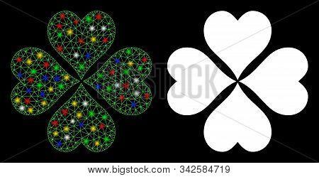 Glossy Mesh Lucky Cloever Icon With Glare Effect. Abstract Illuminated Model Of Lucky Cloever. Shiny