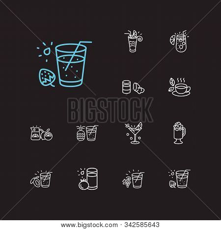 Drink Icons Set. Tomato Juice And Drink Icons With Pineapple Juice, Sidecar Cocktail And Tequila Sun