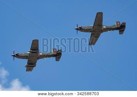 Fairford / United Kingdom - July 12, 2018: Slovenian Air Force Pilatus Pc-9m Trainer Aircrafts Arriv