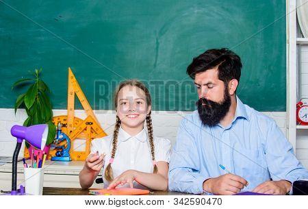 School Teacher And Schoolgirl. Pedagogue Skills. Talented Pedagogue. Work Together To Accomplish Mor
