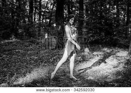 Female Spirit Mythology. Culture Of Wild Human. Fashion Primitive Design. Forest Fairy. Living Wild