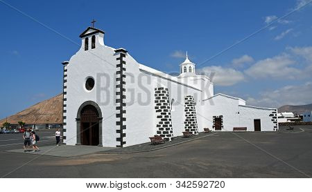 Tinajo, Lanzarote, Spain - March 28, 2019:  Church Of Ermita De Los Dolores Tinajo Lanzarote Spain.
