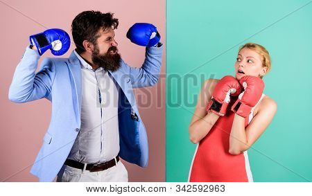 Real Champion. Bearded Man Hipster Fighting With Woman. Family Couple Boxing Gloves. Strength And Po