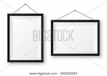 Realistic Hanging On A Wall Blank Black Picture Frame With Shadow. Modern Poster Mockup Isolated On