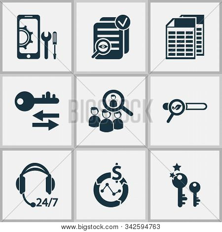 Business Icons Set With Top Keywords, Mobile Optimization, All-day Support And Other Magnifier Eleme