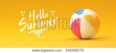 Colorful Beach Ball On Yellow Gradient Background With With Hand Written Text Hello Summer. Summer A
