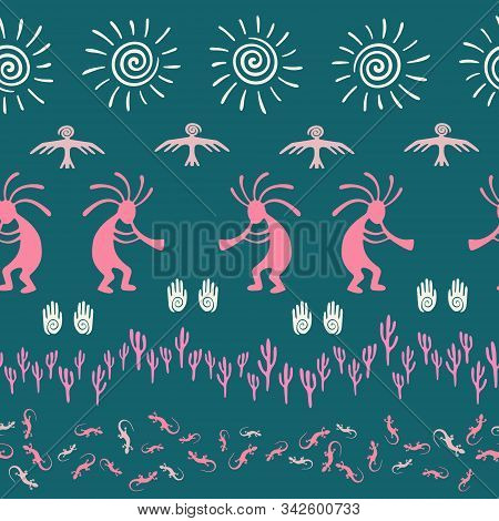 Authentic Australian Fashion Vector Ethnic Tribal Motifs Seamless Pattern. Mythical Design With Geck