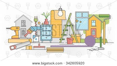 Refurbish Home Process Vector Illustration In Flat Colorful Outline Concept. House Development With